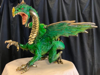 Bronze Dragon Sculpture Green 23
