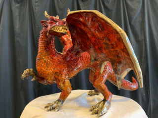 Bronze Dragon Sculpture Red 25