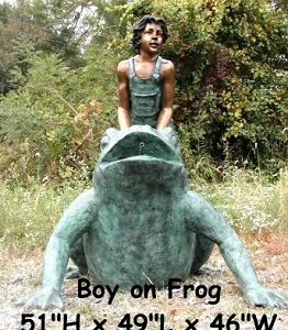 Boy On A Frog Statue Spouting Fountain Bronze
