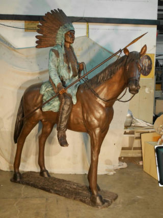 Bronze Indian on Horse Life Size