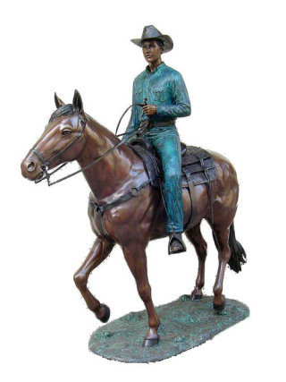 Cowboy on Horse Life-Size Bronze Statue