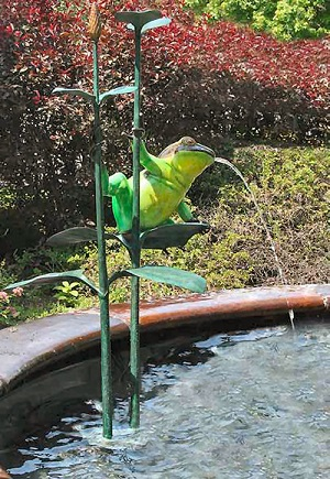 Colorful Frog Spitting Pond Sculpture