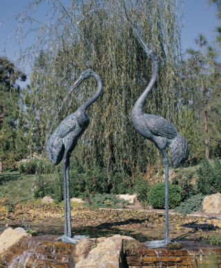 Crane Pair Extra Large Piped Feature Statues