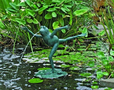 Leaping Frog Plumped Water Feature Sculpture