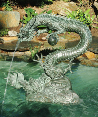 Asian Water Dragon Water Feature Sculpture