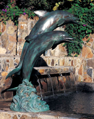 Double Dolphin Piped Water Feature 60