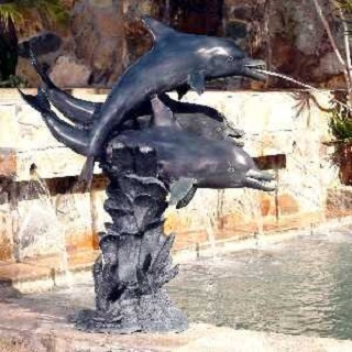 3 Dolphins In Coral Piped Water Feature