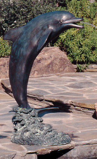 Lone Dolphin Piped Water Feature Statue Bronze