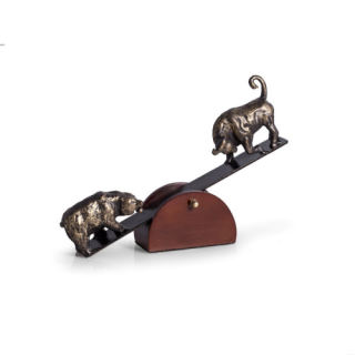 Bear & Bull See-Saw Sculpture Battle