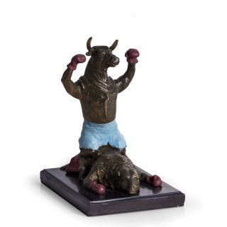 Knock Out Bull Stock Market Sculpture