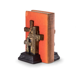 Cross Antique Metal Bookends