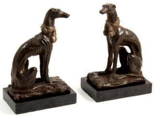 Whippet Bookends on Marble Base Statues