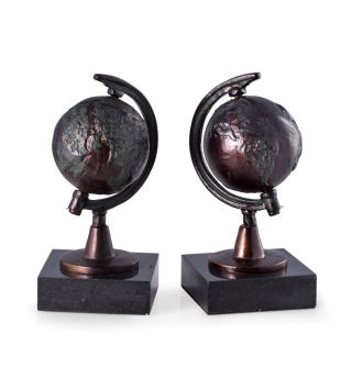 Globe Bookends Bronze On Marble Bases Sculptures