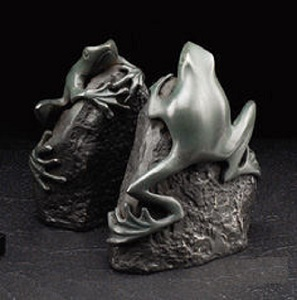 Frog Bookends Sculptures