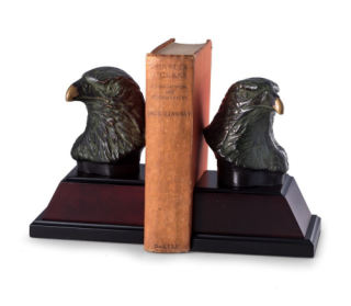 Eagle Bookend Pair On Burlwood Bases