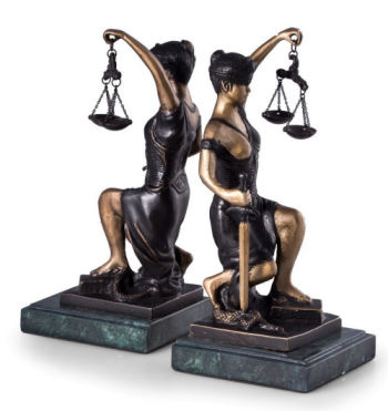 Blind Lady Justice Bookends Sculptures 8.5