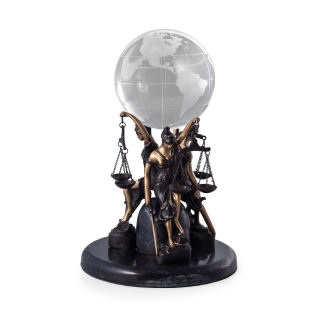 Blind Justice holding Glass Earth Ball Holder Statue 11