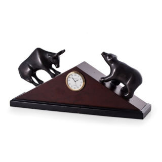 Stock Market Decorative Clock Bear and Bull Sculpture