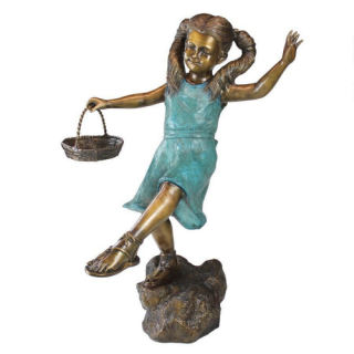Girl with Basket Bronze Garden Sculpture 42