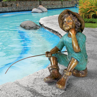 Huck Finn Boy Fishing Garden Bronze Statue