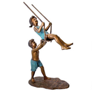 Swinging Children Bronze Garden Statue