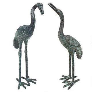 Crane Bronze Set Of Two Piped Sculptures