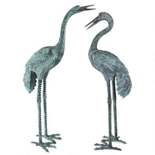 Crane Bronze Set Of Two Piped Statues