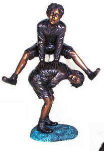 Playing Leap Frog Boys Bronze Sculpture