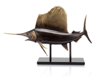 Museum Sailfish Brass Sculpture