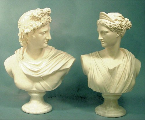 Apollo & Diana Antiquity Sculpture Bust Pair