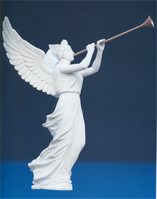 Marble Angel With Trumpet Sculpture Life-Size Momumental