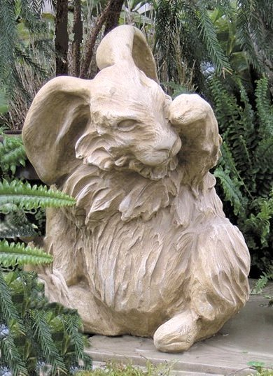 Angora Rabbit Sitting Cement Statue