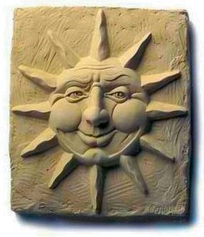 Celestial Grinnings Wall Sun Plaque by Sculptor Carruth