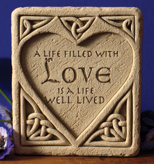 Sculpted Celtic Knot Love Stone Wall Plaque