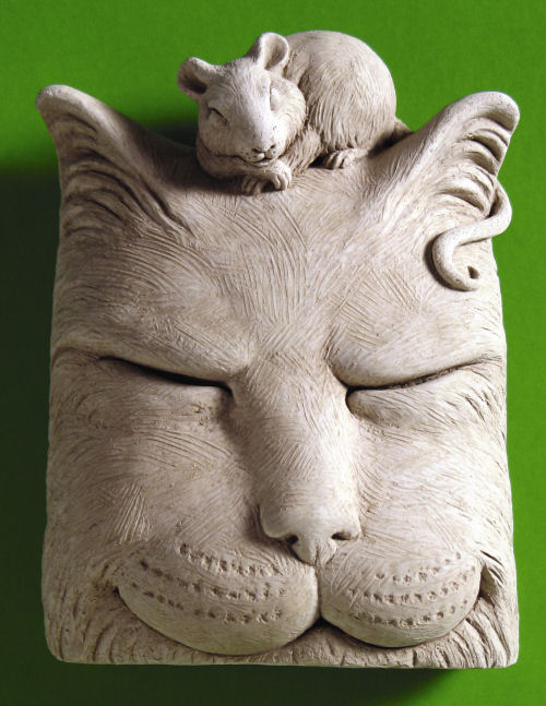 Cat Nip Wall Plaque with Mouse Sculpture