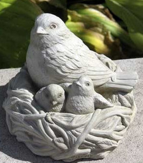 Full Nest Mother with Baby Birds Protectively Hovering Statue