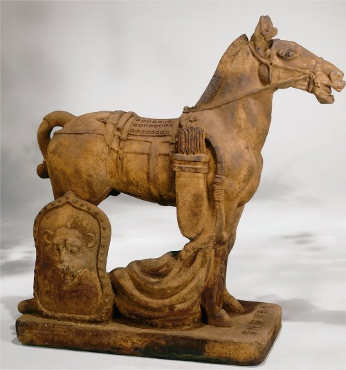 Cavalry Horse Asian Sculpture Henri Statue