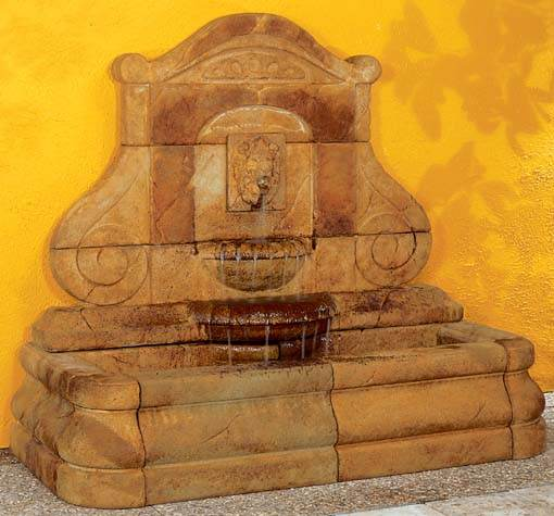 Avignon Lion Wall Fountain Estate Size