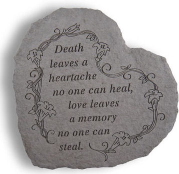 Poignant Inscription on a heart shaped stone