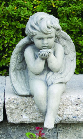 Angel Blowing Kiss Sitting Garden Statue