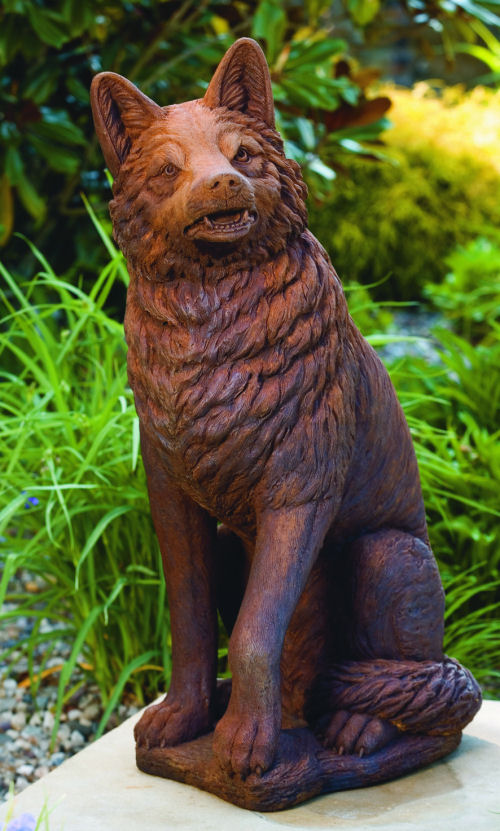 Wolf Sitting Large Garden Sculpture
