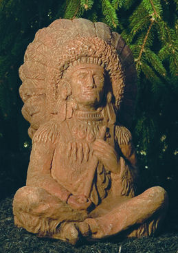 Indian Sitting Chief Garden Sculpture Native American