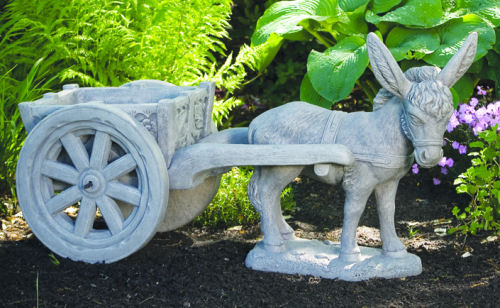 Donkey With Cart Sculptural Statue Art Planter