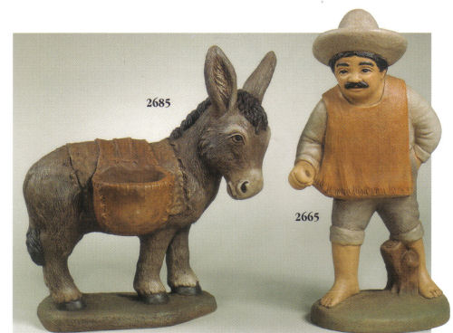 Mexican with burro statuary garden art sculpture Cement