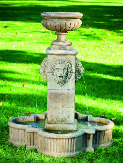 Milano Urn Lion Fountain with Vase in the Center for Planting