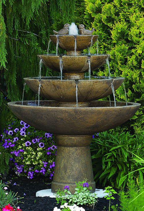 Tranquility Spill Fountain With Birds Four Tiers Outdoor Garden