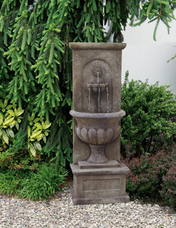 Roman Urn Wall Garden Fountain with Light Sculpture