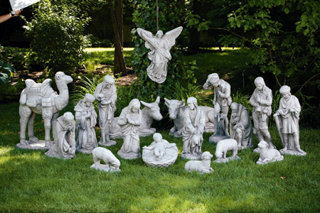 Complete Nativity Cement Garden Statuary Set for Churches