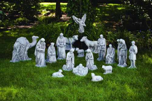 Complete Nativity Set Large Statuary Set 18 Piece