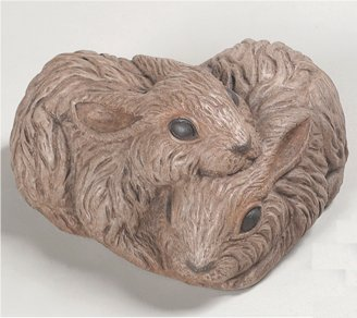 Love & Devotion Rabbits Heart Shaped Sculpture